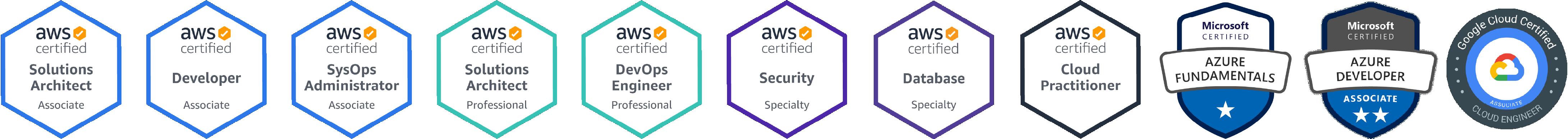 Amazon Web Services, Microsoft Azure, Google Cloud Platform