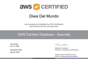 AWS Certified Database - Specialty credential awarded to Diwa del Mundo